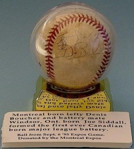Denis Boucher & Joe Siddall autographed baseball
