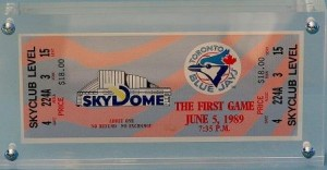 Ticket from first game at SkyDome