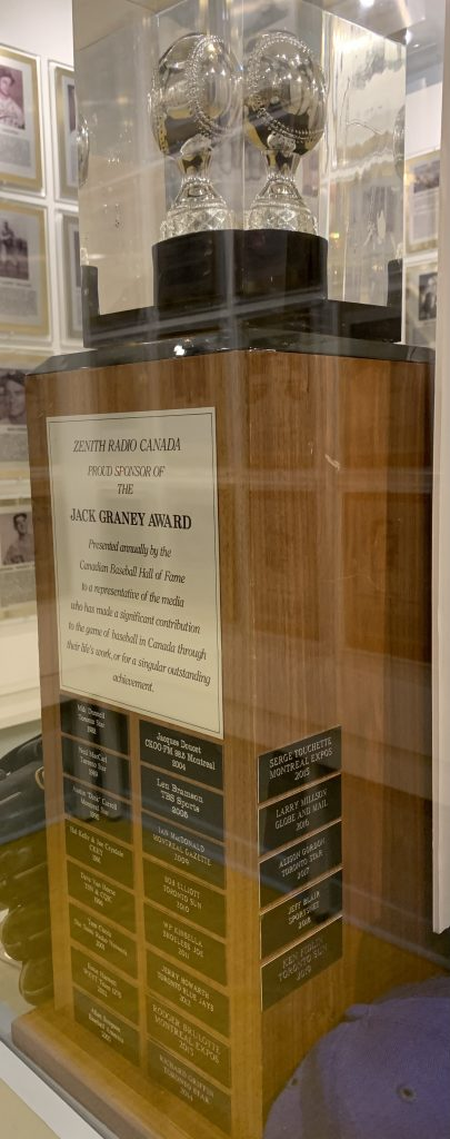 Jack Graney award on display in Hall of Fame